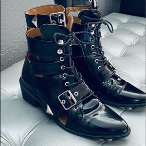 Nasty Gal Faux Patent Leather Boots w/ Ankle Strap